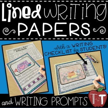 Writing Paper with Writer's Checklist and Picture Box {Writing Prompts Included}