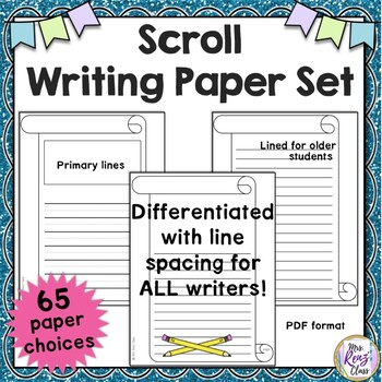 Scroll Border Writing Paper Set (65 pages) Lined & Unlined Writing Paper Options