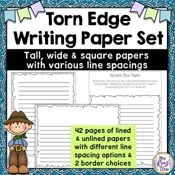 Torn Edge Writing Paper for Pioneer & Colonial Projects (14 pages of options)