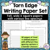 Torn Edge Writing Paper - Pioneer & Colonial Project Writing Paper (42 pages)