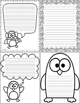 Penguins Writing Paper - Winter Activities