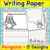 Penguins Winter Writing Paper with Lines