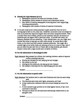 Writing Paragraphs, Main Idea, Supporting Details Assessment (Test)