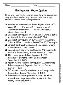 Writing Paragraphs from Earthquake Notes