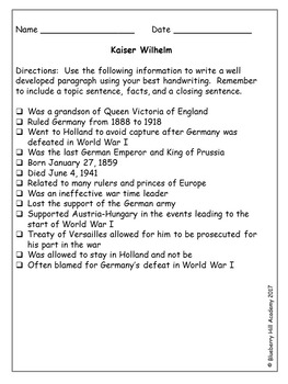 Writing Paragraphs from Notes with World War I Information