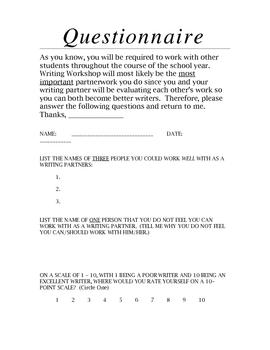 Writing Partner Questionnaire