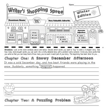 "Seasonal Writing & Parts of Speech Activity:""Writer's Shopping Spree"" **BUNDLE**"