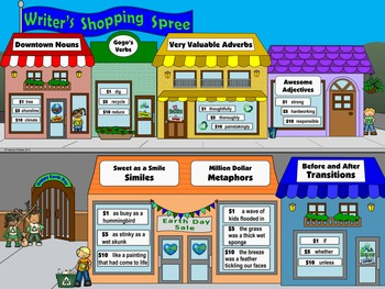 """Earth Day Writing & Parts of Speech Activity: """"Writer's Shopping Spree"""""""