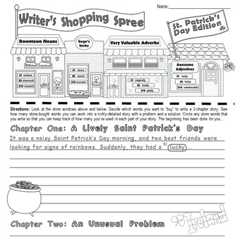 "Saint Patrick's Day Writing & Parts of Speech Activity:""Writer's Shopping Spree"""