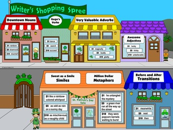 "Saint Patrick's Day Writing & Parts of Speech Activity:""Writer's Shopping Spree"""