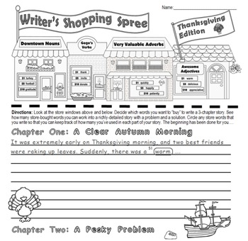 """Thanksgiving Writing & Parts of Speech Activity: """"Writer's Shopping Spree"""""""