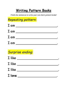 writing pattern book sentence stems worksheet by ms. Black Bedroom Furniture Sets. Home Design Ideas