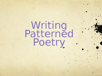 Writing Patterned Poetry