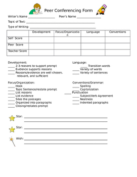 Writing Peer Conferencing Form