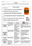 Writing Persuasive Text / Essay / Exposition Assessment Rubric