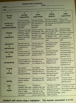 Writing Piece Assessment and/or Grading Rubric