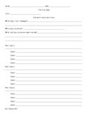 Writing - Planning Page - Brainstorming - Prewriting