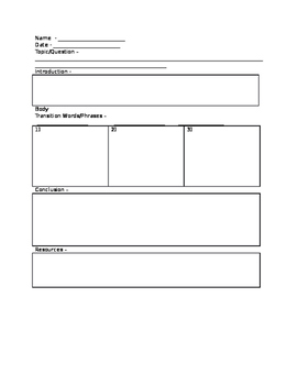 Writing Planning Template
