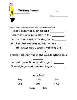 Poem With Rhyme Teaching Resources Teachers Pay Teachers