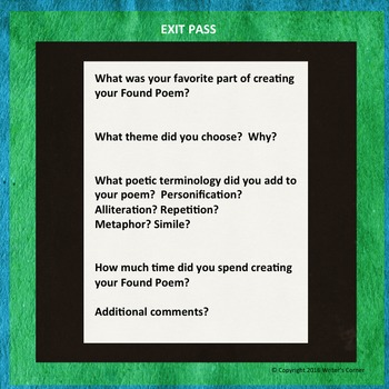 Creating Found Poetry, Substitute Plan, Creative Writing, Visual Arts, Fun