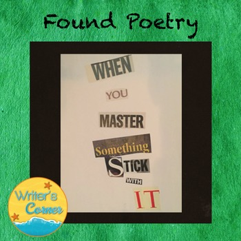Creating Found Poetry, Substitute Plan, Creative Writing,