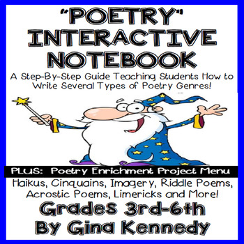 Poetry Interactive Notebook, All Genres, Plus: Poetry Enrichment Project Menu