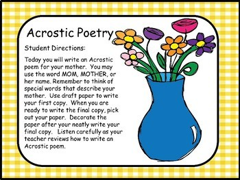 Wrting Poetry Acrostic Poetry for Mother's Day