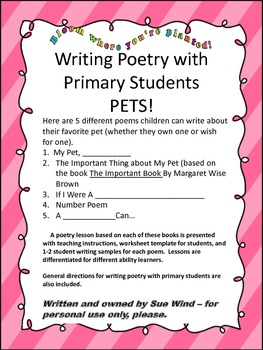 Pets!  Writing Poetry with Primary Students