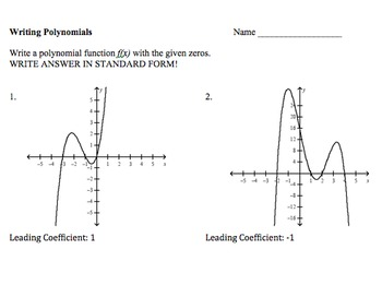 Writing Polynomial Functions