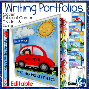 Writing Portfolio Cover, Dividers, Table of Contents and Spine