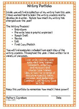 Writing Portfolio Cover Sheet & CC Writing Goal I Can Statement