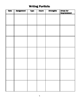 Writing Portfolio Student Resource