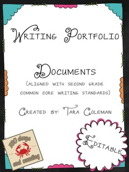 Writing Portfolio Editable documents (Common Core aligned)