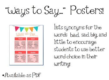 Writing Poster: Ways to Say... #1