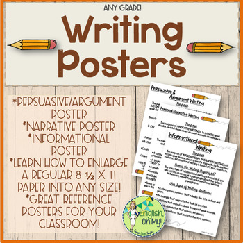 Writing Posters-Informational, Argument, Narrative Writing