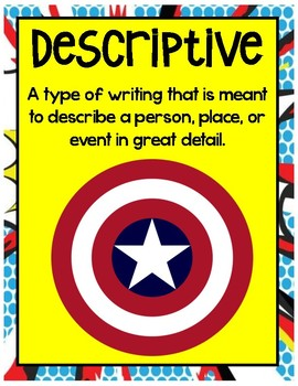 Writing Posters Superhero Theme