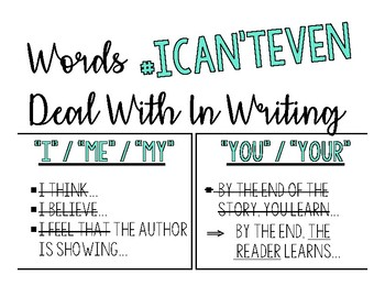 """Writing Posters - Words """"I Can't Even"""" Handle in Writing"""