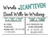 "Writing Posters - Words ""I Can't Even"" Handle in Writing"