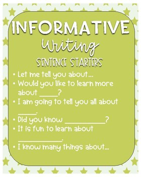 Writing Posters -- Writing Types and Sentence Starters