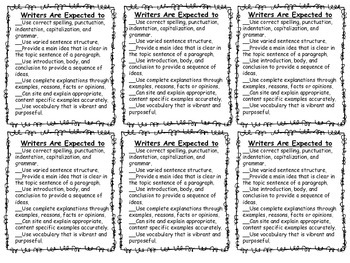 Writing Posters and Checklist