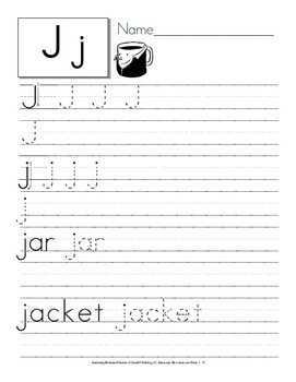 Writing Practice: Alphabet Letters and Words {Lower and Upper Case)