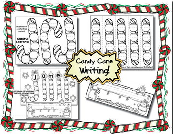 Writing Practice - Candy Cane Writing for Kinders! Cute Craftivity - 11 Prompts!