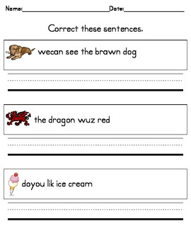 writing practice correct these sentences for kindergarten tpt. Black Bedroom Furniture Sets. Home Design Ideas