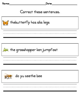 Writing Practice Correct These Sentences For Kindergarten Tpt