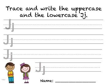 Writing Practice - Letter Jj