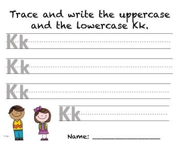 Writing Practice - Letter Kk