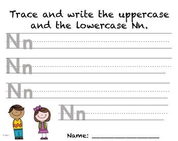 Writing Practice - Letter Nn