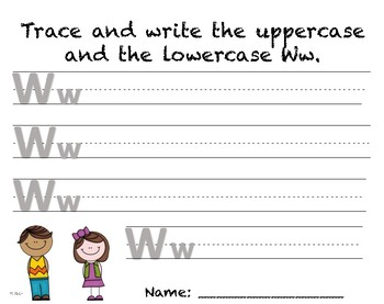 Writing Practice - Letter Ww