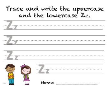 Writing Practice - Letter Zz