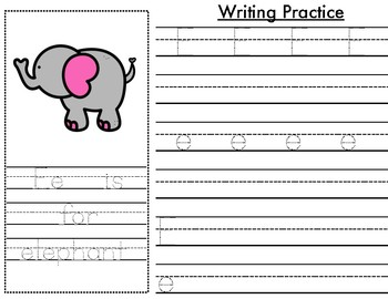Writing Practice Page -- Letter Ee